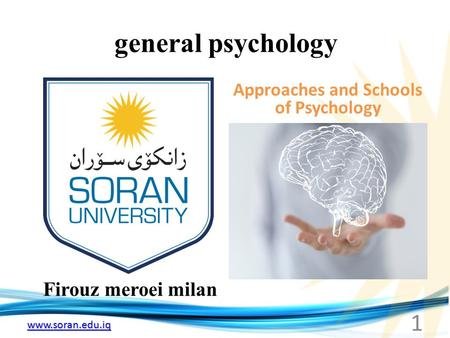 Www.soran.edu.iq general psychology Firouz meroei milan Approaches and Schools of Psychology 1.