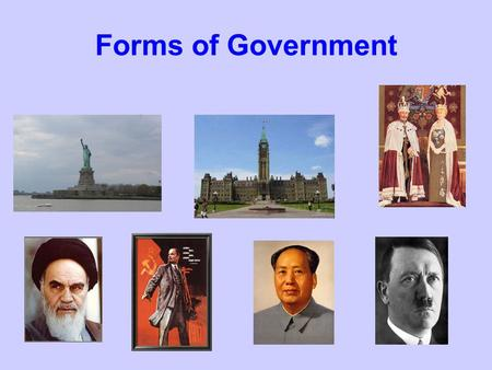 Forms of Government. Dictatorship - TOTALITARIANISM CHARACTERISTICSDRAWBACKSBENEFITSEXAMPLES -absolute control by a political party -leadership by a dictator.