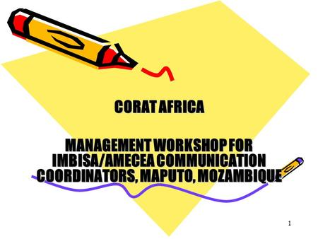 1 CORAT AFRICA MANAGEMENT WORKSHOP FOR IMBISA/AMECEA COMMUNICATION COORDINATORS, MAPUTO, MOZAMBIQUE.