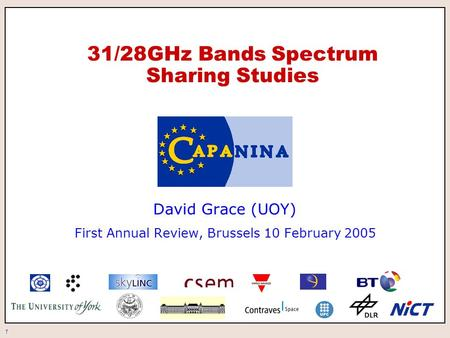 1 31/28GHz Bands Spectrum Sharing Studies David Grace (UOY) First Annual Review, Brussels 10 February 2005.