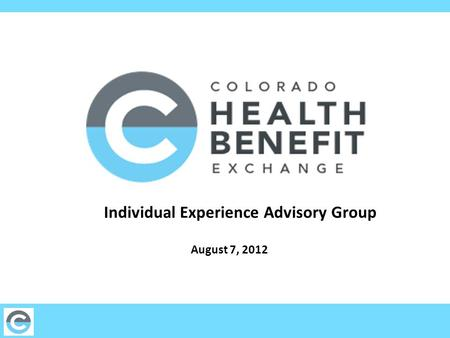 Individual Experience Advisory Group August 7, 2012.