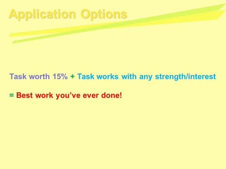 Application Options Task worth 15% + Task works with any strength/interest = Best work you've ever done!