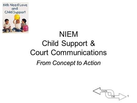 1 NIEM Child Support & Court Communications From Concept to Action CSE Courts.