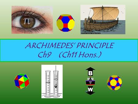 ARCHIMEDES' PRINCIPLE Ch9 (Ch11 Hons.). Pressure Pressure = Force (N) / Area (m 2 ) Unit is pascal (Pa) which is VERY small. Also use atm, or psi (pounds/inch.