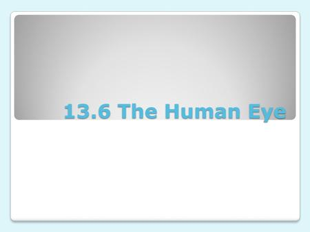 13.6 The Human Eye. Recall: the eye is a camera You should remember that from earlier lessons, the human eye is much like a camera It has a small pinhole.
