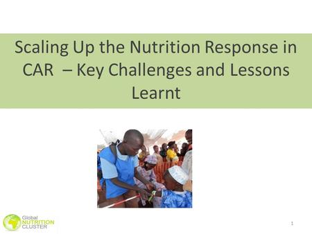 1 Scaling Up the Nutrition Response in CAR – Key Challenges and Lessons Learnt.