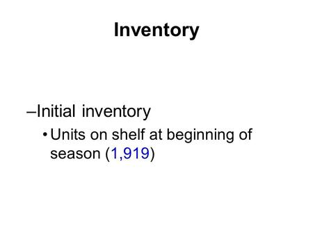 Inventory –Initial inventory Units on shelf at beginning of season (1,919)