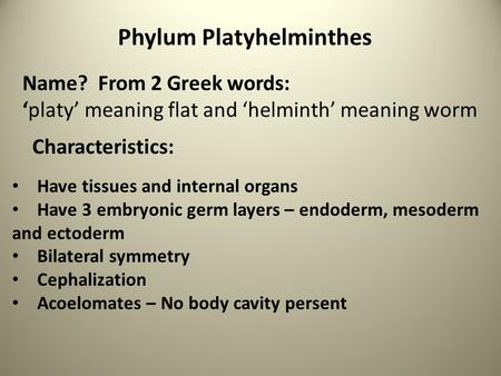 Phylum Platyhelminthes Name? From 2 Greek words: 'platy' meaning flat and 'helminth' meaning worm Characteristics: Have tissues and internal organs Have.
