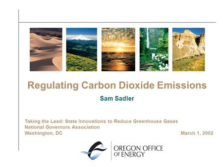 Regulating Carbon Dioxide Emissions Sam Sadler Taking the Lead: State Innovations to Reduce Greenhouse Gases National Governors Association Washington,
