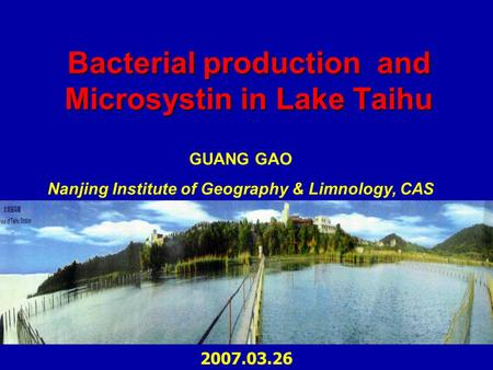Bacterial production and Microsystin in Lake Taihu GUANG GAO Nanjing Institute of Geography & Limnology, CAS 2007.03.26.