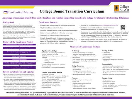Download the curriculum from www.ecu.edu/stepp/curriculum.cfm Available at no cost and licensed under a Creative Commons Attribution-Noncommercial 3.0.