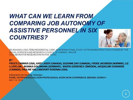 WHAT CAN WE LEARN FROM COMPARING JOB AUTONOMY OF ASSISTIVE PERSONNEL IN SIX COUNTRIES? RE-IMAGING LONG-TERM RESIDENTIAL CARE; AN INTERNATIONAL STUDY OF.