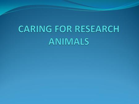  Good care is important to the research process as a whole  Animals that are treated well provide the normal biological and behavioral responses researchers.