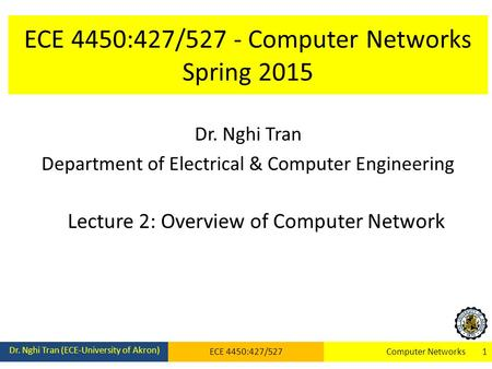 ECE 4450:427/527 - Computer Networks Spring 2015 Dr. Nghi Tran Department of Electrical & Computer Engineering Lecture 2: Overview of Computer Network.