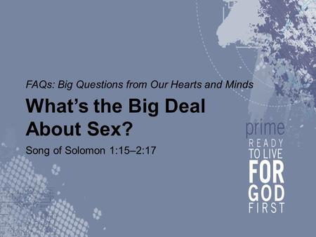 FAQs: Big Questions from Our Hearts and Minds What's the Big Deal About Sex? Song of Solomon 1:15–2:17.