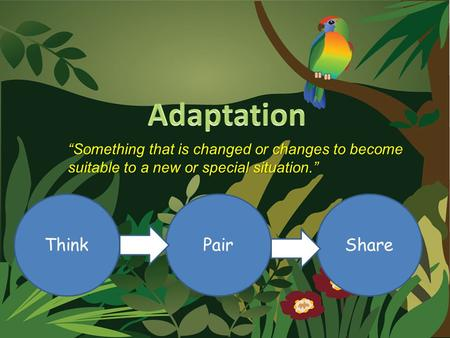 """Something that is changed or changes to become suitable to a new or special situation."" ThinkSharePair."