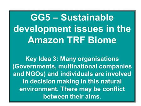GG5 – Sustainable development issues in the Amazon TRF Biome Key Idea 3: Many organisations (Governments, multinational companies and NGOs) and individuals.