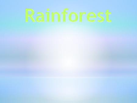 We are learning about the rainforest. Rainforests are hot, steamy places were it rains a lot. Rainforests are the wettest areas of land in the world.