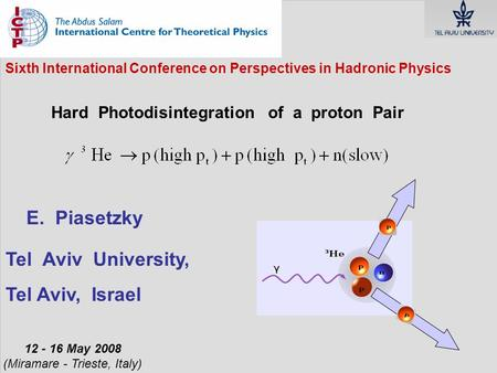 Sixth International Conference on Perspectives in Hadronic Physics Hard Photodisintegration of a proton Pair 12 - 16 May 2008 (Miramare - Trieste, Italy)