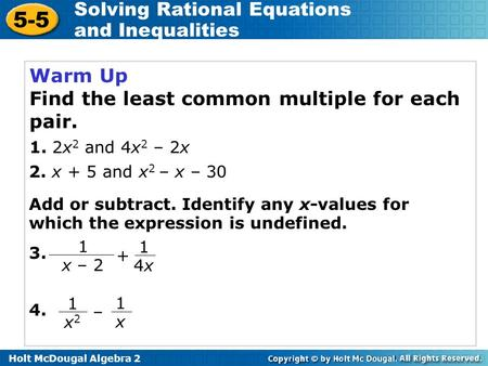 Find the least common multiple for each pair.