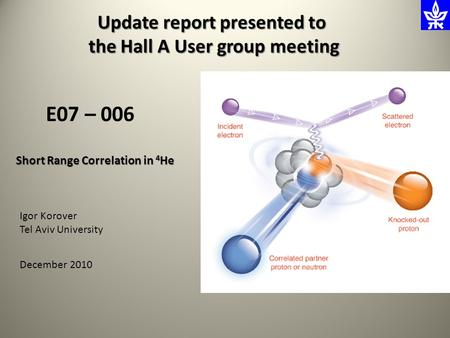 Short Range Correlation in 4 He E07 – 006 Update report presented to the Hall A User group meeting the Hall A User group meeting Igor Korover Tel Aviv.