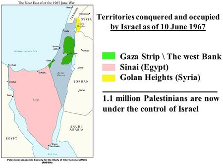 Territories conquered and occupied by Israel as of 10 June 1967 Gaza Strip \ The west Bank Sinai (Egypt) Golan Heights (Syria) 1.1 million Palestinians.