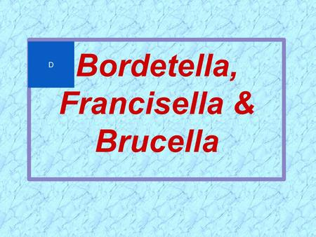 Bordetella, Francisella & Brucella D. General Overview of Bordetella, Francisella & Brucella  Extremely small  Aerobic nonfermenters  Gram-negative.