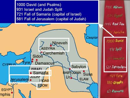 ISRAEL 1000 David (and Psalms) 931 Israel and Judah Split 721 Fall of Samaria (capital of Israel) 581 Fall of Jerusalem (capital of Judah)