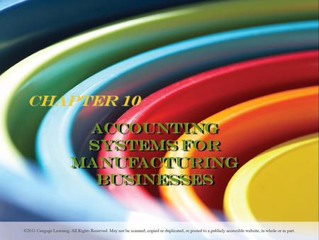 Chapter 10 Accounting Systems for Manufacturing Businesses.