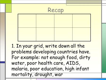 Recap 1. In your grid, write down all the problems developing countries have. For example: not enough food, dirty water, poor health care, AIDS, malaria,
