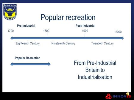 Popular recreation From Pre-Industrial Britain to Industrialisation Pre-industrialPost-Industrial Eighteenth CenturyNineteenth CenturyTwentieth Century.