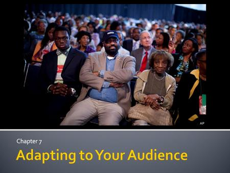 Chapter 7.  Audience adaptation  Adapting to audience demographics  Knowing your audiences demographics affect choices during speech development 