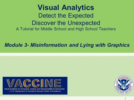 Visual Analytics Detect the Expected Discover the Unexpected A Tutorial for Middle School and High School Teachers Module 3- Misinformation and Lying with.