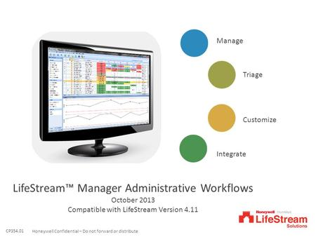 1Honeywell Confidential – Do not forward or distribute Manage Customize Triage Integrate LifeStream™ Manager Administrative Workflows October 2013 Compatible.