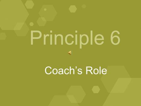 Principle 6 Coach's Role. January, 2009 A model Division II athletics program shall feature an environment where head coaches understand their responsibility.