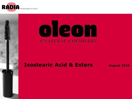 Isostearic Acid & Esters August 2010