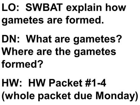 LO: SWBAT explain how gametes are formed. DN: What are gametes? Where are the gametes formed? HW: HW Packet #1-4 (whole packet due Monday)