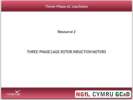 THREE-PHASE CAGE ROTOR INDUCTION MOTORS Resource 2 Three-Phase AC machines.