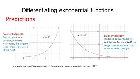 Differentiating exponential functions.