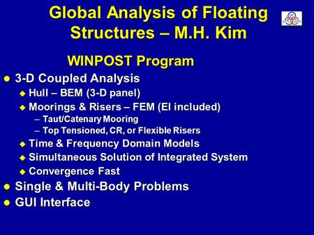 Global Analysis of Floating Structures – M.H. Kim