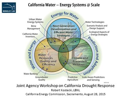 Joint Agency Workshop on California Drought Response Robert Kostecki, LBNL California Energy Commission, Sacramento, August 28, 2015.
