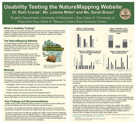 What is Usability Testing? The NatureMapping Website 1 English Department, University of Wisconsin—Eau Claire  2 University of Wisconsin-Eau Claire 