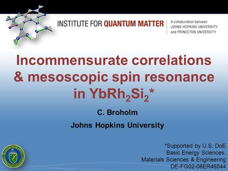 Incommensurate correlations & mesoscopic spin resonance in YbRh 2 Si 2 * *Supported by U.S. DoE Basic Energy Sciences, Materials Sciences & Engineering.