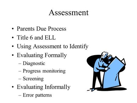 Assessment Parents Due Process Title 6 and ELL Using Assessment to Identify Evaluating Formally –Diagnostic –Progress monitoring –Screening Evaluating.