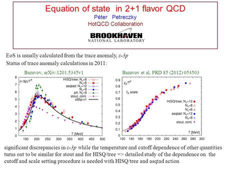 Equation of state in 2+1 flavor QCD Péter Petreczky HotQCD Collaboration Status of trace anomaly calculations in 2011: significant discrepancies in ε-3p.