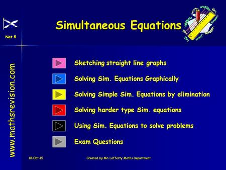 18-Oct-15Created by Mr. Lafferty Maths Department Solving Sim. Equations Graphically Simultaneous Equations www.mathsrevision.com Solving Simple Sim. Equations.