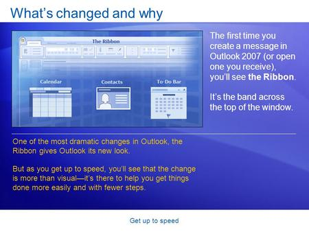 Get up to speed What's changed and why The first time you create a message in Outlook 2007 (or open one you receive), you'll see the Ribbon. It's the band.