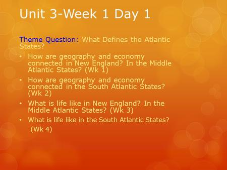 Unit 3-Week 1 Day 1 Theme Question: What Defines the Atlantic States? How are geography and economy connected in New England? In the Middle Atlantic States?