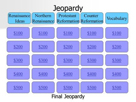Jeopardy $100 Renaissance Ideas Northern Renaissance Protestant Reformation Counter Reformation Vocabulary $200 $300 $400 $500 $400 $300 $200 $100 $500.