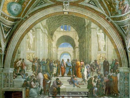 "Raphael, The School of Athens, 1510. Diogenes I wonder why people refer to me as ""The Dog""?"